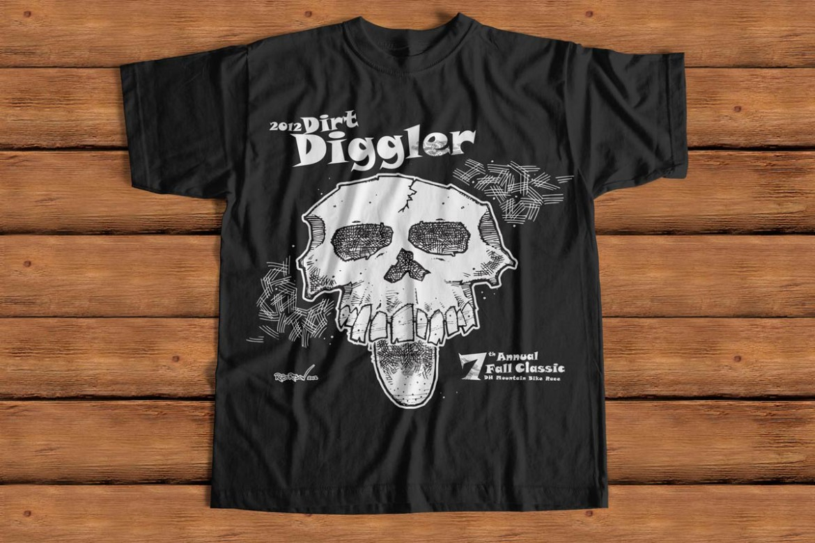 Bruce Robertson Portfolio, T-shirt Artwork for Dirt Diggler Mountain Bike Race